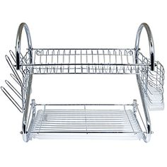 @Overstock - Our Two-Tiered Dish Rack System features sturdy construction and space saving design Chrome plated steel and heavy duty plastic. Use the top tier for dishes, bottom tier for saucers, cups, bowls etc, side rack for glasses and flatware.http://www.overstock.com/Home-Garden/Better-Chef-16-inch-Chrome-Dish-Rack-with-Utensil-Holder-Cup-Rack-and-Tray/6552195/product.html?CID=214117 $35.99