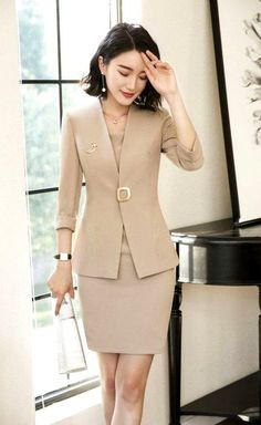 Formal Spring Summer Fashion Blazers Suits With Two Piece Jackets And Dress Office Ladies Business Work Wear Uniforms Sets, Summer Work Outfits, Cool Outfits, Casual Outfits, Casual Dresses, Formal Dresses, Blazer Fashion, Fashion Outfits, Dress Fashion, Fashion Ideas