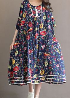 Women loose fit over plus size Bohemian flower dress maxi long tunic boho chic #Unbranded #dress #Casual