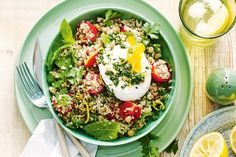 Who thought a salad could taste so good? Try this healthy quinoa dish served with poached eggs and basil pesto.