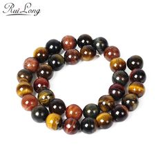 High quality Natural Stone multicolors tiger eye stone Round Loose strand Beads 6/8/10/12mm Jewelry Making Bracelet Diy beads
