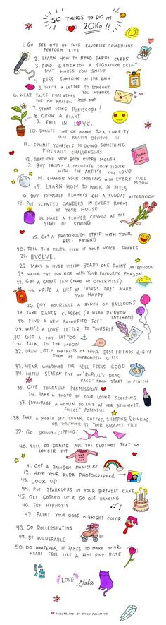 50 Things To Do In 2016: An Illustrated List | Gala Darling | Bloglovin'