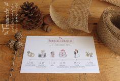 Program svatebního dne Place Cards, Wedding Invitations, Place Card Holders, Program, Day, Couples Wedding Shower Invitations, Wedding Invitation Cards, Wedding Announcements, Bridal Invitations