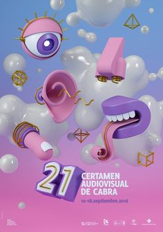Cartel 21 Certamen Audiovisual de Cabra 2016 (Diseño: Viky Rodríguez) #3D #cinema4D #pink #blue #poster #cinema