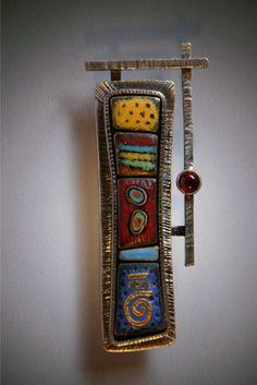 Brooch | 2 in. long, 1 in. wide, Sterling,24k,vitreous enamels,garnet