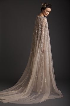 Sparkling tulle cape from Krikor Jabotian's 2014 collection