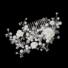 Ivory Rose, Pearl and Crystal Wedding Hair Comb - Affordable Elegance Bridal -