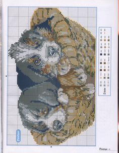Cross-stitch Puppies... Cesta Cuccioli