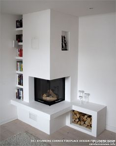 Wonderful Free of Charge Electric Fireplace with storage Ideas Good Photographs Corner Fireplace electric Suggestions Spot fireplaces give variety advantages to p Corner Gas Fireplace, Fireplace Bookshelves, Home Fireplace, Fireplace Inserts, Living Room With Fireplace, Home Living Room, Living Room Designs, Fireplace Ideas, Tall Fireplace