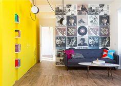 Apartamento pequeno de 48 m² é decorado com tons de amarelo em Roma - Casa