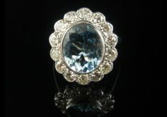 SPECTACULAR 5CT AQUAMARINE & 1.35CT OLD CUT DIAMOND LARGE RING
