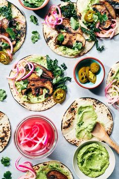 Juicy mouthwatering mushrooms, topped with pickled onions, guacamole and greens. A dozen ingredients. Taco 'bout awesome! (V+GF)