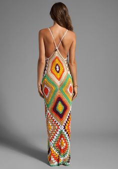 Outstanding Crochet: Indah Syra Crochet Maxi Dress In Tan