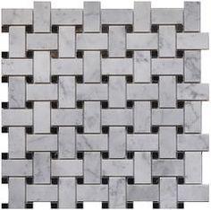 "Carrara White Marble Mosaic Tile, CWMM1WEA+B-H, 1""X2"" Basketweave with Black Dot, 12""X12""X5/16"", Honed"