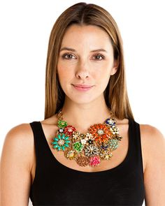 Amrita Singh Enamel & Crystal Flowered Necklace