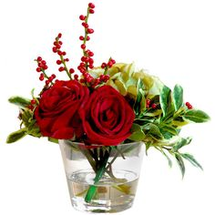Faux Red Rose Holly Arrangement Winward Designs ❤ liked on Polyvore