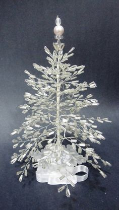 White Beaded Christmas Tree Sample listing by DesignByMiSt, $90.00