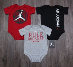 03e24b3b3ee2e1 Air Jordan Baby Boy 3 Piece Bodysuit Set ~ Red