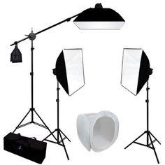 3 MonoLight Strobe Photo Studio Flash Lighting Softbox Boom Kit w/ Carrying Case