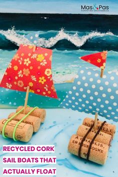 Who said it was complicated to build a toy boat? These little recycled cork sail boats are easy to put together and actually float. You could make a whole fleet and then take them out for a sail on the pond or even in the paddling pool on a sunny day. Boat Craft Kids, Sailboat Craft, Boat Crafts, Recycled Crafts Kids, Fun Activities For Kids, Craft Activities, Preschool Crafts, Preschool Classroom, Kids Crafts