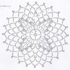 clippedonissuu from motif edging Crochet Bedspread Pattern, Free Crochet Doily Patterns, Crochet Motifs, Crochet Circles, Crochet Mandala, Crochet Diagram, Crochet Chart, Crochet Granny, Filet Crochet