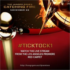 Watch the #CatchingFirePremiere Red Carpet, streaming LIVE from Los Angeles via @Yahoo Movies! http://hungrgam.es/cfpremiere - #TickTock1