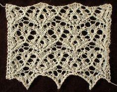 Wildfire: a free lace knitting stitch pattern.