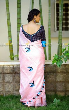 Baby Pink Linen bird embroidered saree teamed up with khadi cotton checks blouse with mirror work neckline .Price - 4299 (Including blouse material + work )Kindly whatsapp @ 7995038888 for placing Orders . Kerala Saree Blouse Designs, Cotton Saree Blouse Designs, Best Blouse Designs, Simple Blouse Designs, Stylish Blouse Design, Bridal Blouse Designs, Bollywood, Designer Blouse Patterns, Mirror Work