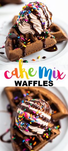 These easy chocolate cake mix waffles make the perfect brunch! The shell of the waffles have a nice crunch while the insides are light and fluffy. Waffle Maker Recipes, Dessert Recipes, Easy Recipes, Breakfast Recipes, Chocolate Waffles, Chocolate Cake Mixes, Chocolate Syrup, Waffle Cake, Sweets