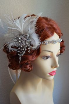 Ivory Couture Feather Headpiece With Sparkling Crystal Rhinestones. 1920s Headpiece, Feather Headpiece, Wedding Headdress, Gatsby Theme, Gatsby Style, Gatsby Party, Gatsby Wedding, Dream Wedding, Wedding Day