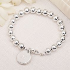 Silver-plated Personalized Bead Charm Bracelet for Bridesmaids @Lindz Nicole