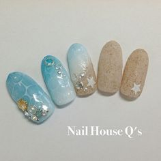 summer nail tips Ring Finger Mermaid Glitter, Mermaid Nails, Japan Nail Art, Posh Nails, Sea Nails, Acryl Nails, Almond Acrylic Nails, Diy Nail Designs, Christmas Nail Art