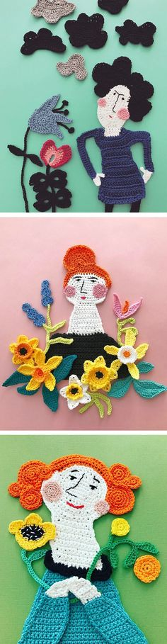 Tuija Heikkinen creates charming crochet art that's done in pieces and then arranged into charming assemblages just like a collage.