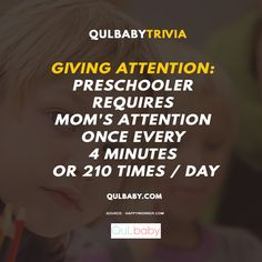 Qulbaby trivia: Giving Attention: Preschooler requires mom's attention once every 4 minutes or 210 times / day ~ Baby Trivia, Giving, Preschool, Babies, Times, Mom, Babys, Baby, Senior Year