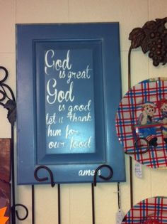 Painted cabinet door stenciled with prayer