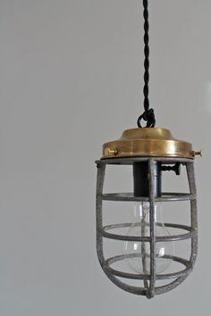 Vintage Industrial Repurposed Explosion Proof Cage Pendant Light - Brass Edison Bulb Minimalist Lighting - Unique Upcycled Hanging Lamp via Etsy