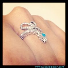 Shimmering Diamond Cut Sterling Silver Snake Ring $62