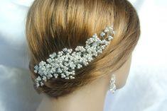 Wedding Hair Comb Swarovski Hair Comb White Swarovski Pearl and Crystal AB Hair Comb Bridal Headpiece AB Crystal Hair Accessories Swarovski