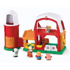 """Fisher-Price Little People Animal Sounds Farm. Jimmie's favorite toy from speech therapy. """"Open"""" and """"close"""", """"in"""" and """"out"""", animal names, animal sounds. Silo separates from barn. Best Toddler Toys, Toys For 1 Year Old, Fisher Price, Little People, Cool Toys, Farm Animals, Vintage Toys, Fun, Kids"""