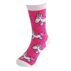 Make a little girl's dream come true with these magical unicorn print crew socks. The bright pink socks feature white toe, heel and cuff accents. The super soft material and flat toe seams will keep her little feet comfortable all day.