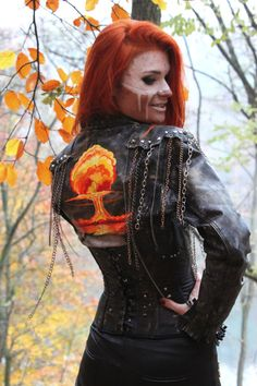 Post Apocalyptic Hand Painted Leather Jacket Sexy Rocker Clothing Fallout Wasteland Weekend