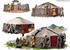 The making of a traditional Mongolian ger. A traditional yurt (from the Turkics) or ger (Mongolian) is a portable, round tent covered with skins or felt and used as a dwelling by nomads in the steppes of Central Asia.