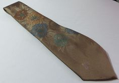 """DON LOPER"" BROWN FLORAL SILK BLEND TIE - PLEASE SEE ALL PICTURES #DONLOPER #Tie"