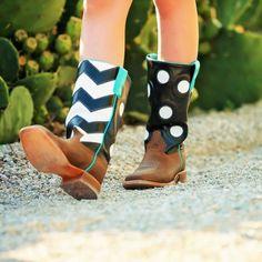Anderson Bean Polka Dot Chevron Kids Cowboy Boots K7072