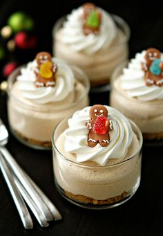 Gingerbread Oreo No Bake Mini Cheesecakes (made mine with ginger snaps in lieu of gingerbread oreos)