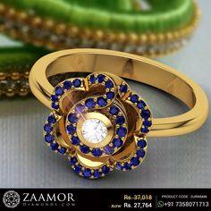 Sapphire Carnation Diamond Ring #zaamordiamonds #diamondrings #diamondring #gemstonerings #gemstonering #rings #ring #jewelry #jewellery #sapphirering #sapphirerings