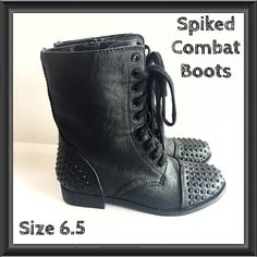 Unique Spiked Combat Boots 6.5 Add a fun twist to your combat boots with this pair of spiked faux leather boots by Bongo. Lace up and side zip closure. Size 6.5 NWOT BONGO Shoes Combat & Moto Boots