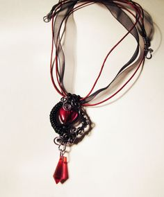 Gunmetal and Black Gothic Red Heart by PoltergeistJewellery