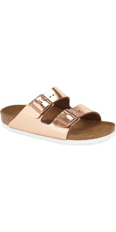 Birkenstock Arizona Soft Footbed Sandal: Birks are back in a big way, and it's easy to see why: The classic sandal provides the same arch support and long-time wear you've come to expect from the brand, but now in lush prints and colors, like this flashy rose-gold pair.