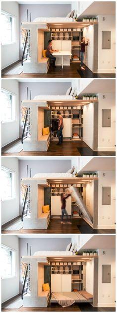 Multi-functional loft transforms a small condo into a dynamic space